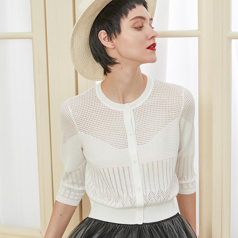 针织女开衫薄圆领修身小外套