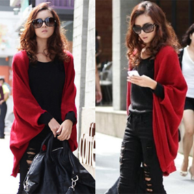 2018秋装新款大码女装外套中长款宽松蝙蝠衫针织开衫披肩毛衣外套