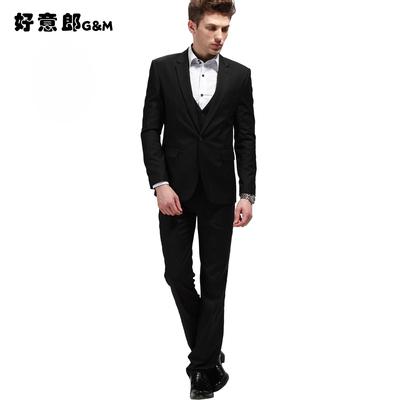 好意郎男士西服两件套装男式韩版修身西装一扣休闲时尚男外套裤子