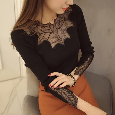 莉米歌春装新款韩版低领针织衫女蕾丝拼接修身显瘦中长款打底衫女