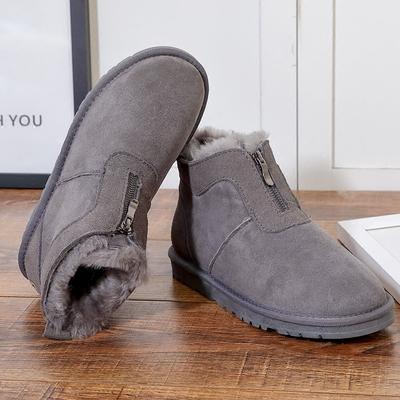 冬季男士皮毛一体雪地靴短筒短靴女拉链男款雪地棉加绒保暖棉鞋男