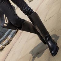 库琪秋冬韩版潮流休闲皮靴潮男靴马丁靴长筒男靴子军靴仪仗高筒靴