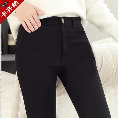 黑色外穿打底裤女秋冬加厚铅笔裤2018新款高腰加绒显瘦紧身小脚裤