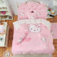Korean version of the bed cover bed skirt four sets of princess children embroidered kt cat cartoon quilt cover 1.5/1.8m bedding