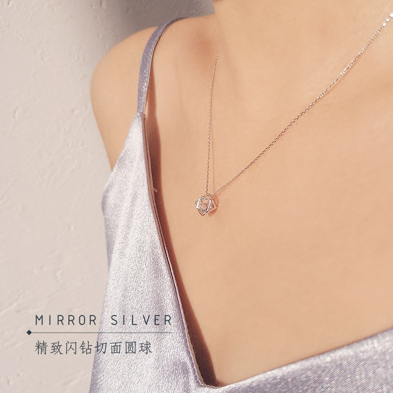 几何之美小麋人S925纯银简约闪钻切面球锁骨项链欧美时髦礼物女款