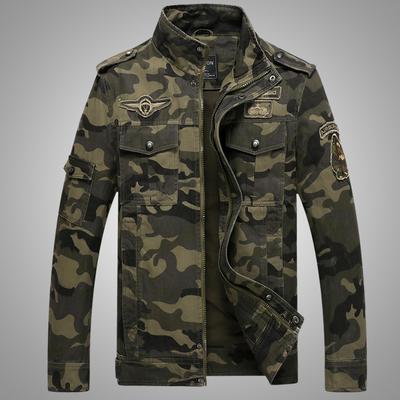 秋季休闲男式军装飞行员修身工装多口袋迷彩夹克jacket有大码外套