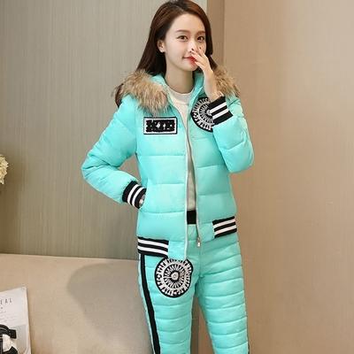 新款冬韩版真毛领连帽棉袄加厚羽绒棉服女短款外套两件套装棉衣潮