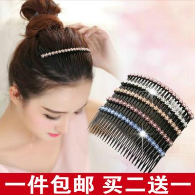 韩版发梳插梳花朵镶钻直发梳韩式带齿发卡女士百搭刘海发插头饰
