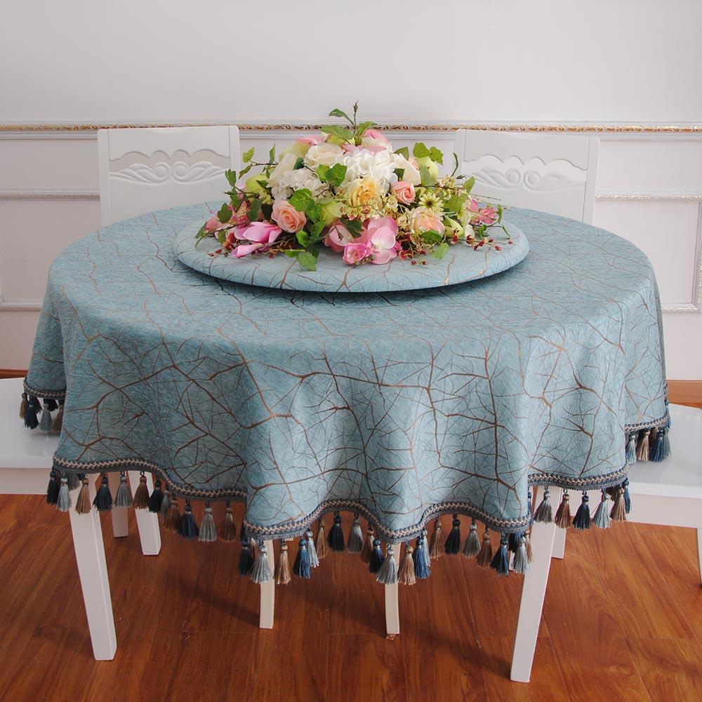欧式蓝色大圆桌桌布布艺台布圆形加厚酒店餐厅转盘套家用1.8米园