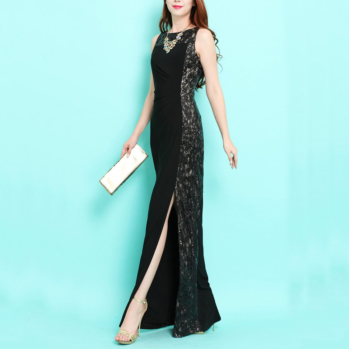 the legend of the s ~ New Year Europe and the United States luxury sleeveless lace sequins long stretch was thin