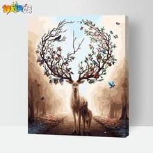 梦幻森林鹿 DIY数字油画客厅大幅手绘填色油彩卡通动漫装 饰画 新款