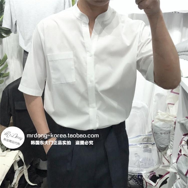 东大门韩国男装代购韩版时尚百搭立领韩版夏季精致短袖衬衫18衬衣