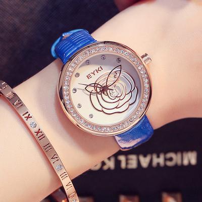 女士手表防水时尚款女2017新款手表女款手镯表蓝色毕业礼物送女生图片