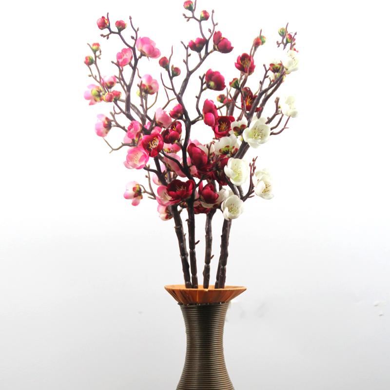 仿真桃花树饰品梅花枝新年装饰花插花中式艺术假花梅花套装包邮