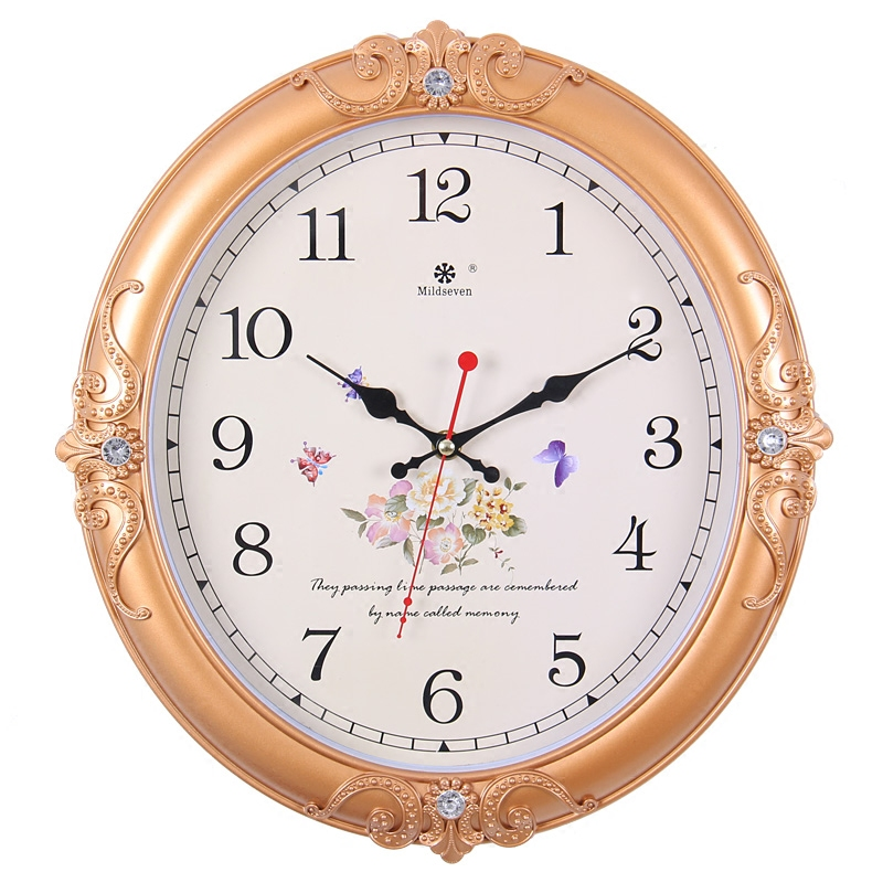 静音挂钟客厅欧式田园艺术钟表创意装饰石英钟表家用时钟挂表