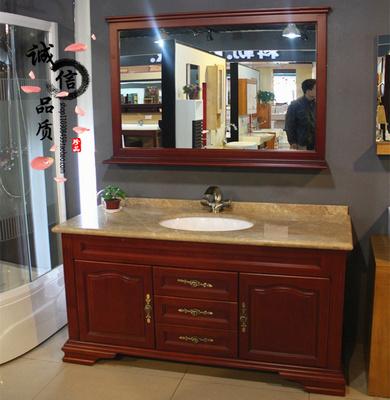 现代中式浴室柜组合实木洗脸盆洗面池台盆卫浴柜落地大理石洗漱台性价比高吗