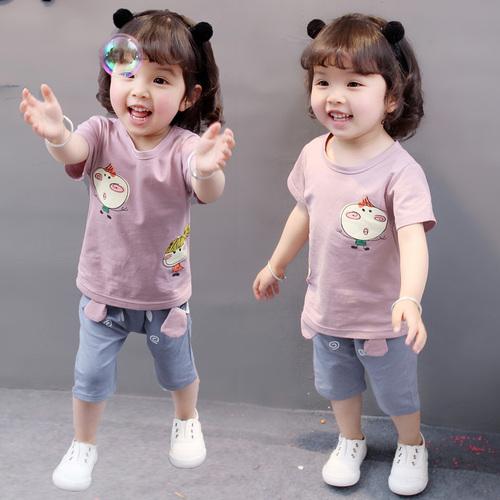 女童1夏装0女宝宝夏天短袖衣服2洋气3岁女婴儿童装夏季套装韩版潮