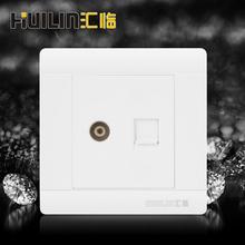 汇临B05 电视+电话连体插座 86型暗装 有线数字插口 雅白面板