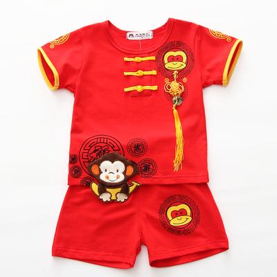 婴儿童装唐装女男宝宝衣服男童夏装套装0一1-3周岁礼服喜庆季抓周