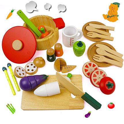 木制儿童磁性切切乐过家家厨房玩具套装男女孩仿真蔬菜火锅切切看