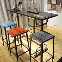 LOFT工矿复古怀旧彩色吧台桌椅 铁艺做旧吧台吧桌高脚桌椅组合