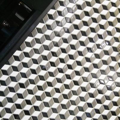 奥廷特陶瓷马赛克四边菱形黑白灰棕黄色3D拼图背景形象墙玄关瓷砖年中大促