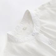 秋季纯棉韩风立领长袖白衬衫文艺小清新百搭修身打底衬衣女装内搭
