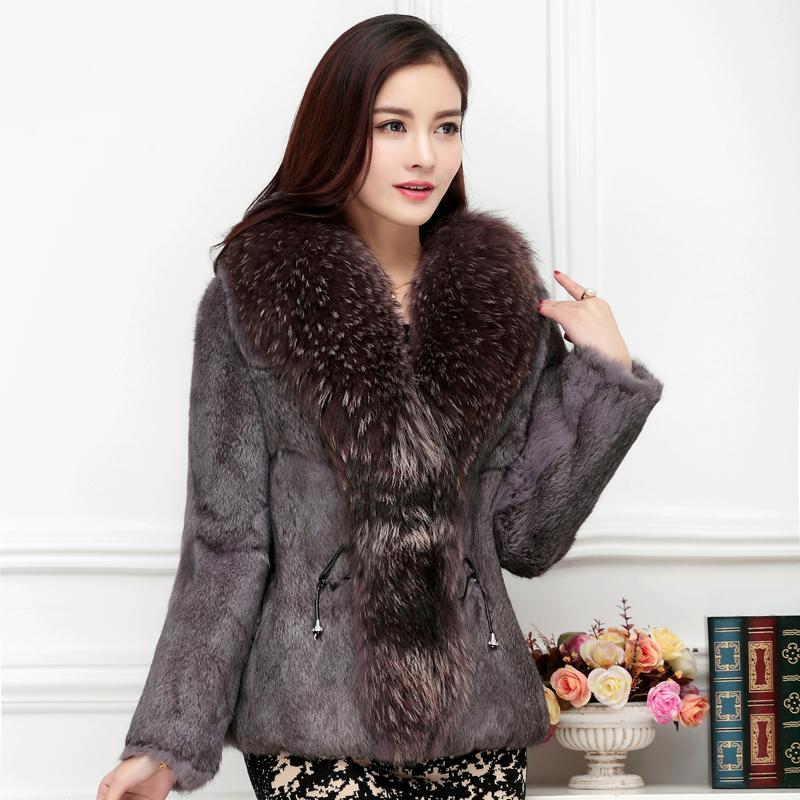 韩版超大貉子毛领外套