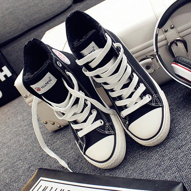 高帮加绒帆布鞋