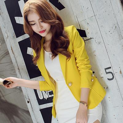 2018秋装新款韩版修身长袖纯色短款小西装外套女OL时尚女士小西服