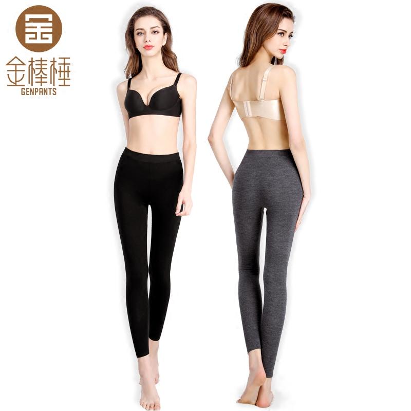 金棒棰1096女士中厚羊绒保暖裤 弹力无缝修身显瘦保暖打底裤绒裤