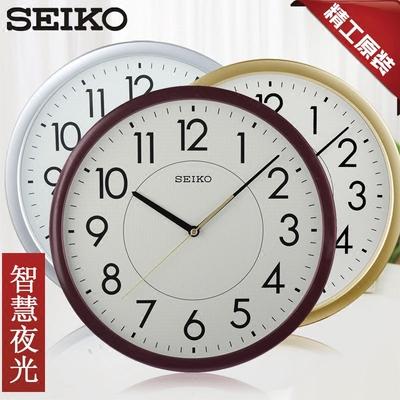 14英寸日本SEIKO精工挂钟 夜光时尚简约个性静音客厅创意石英钟