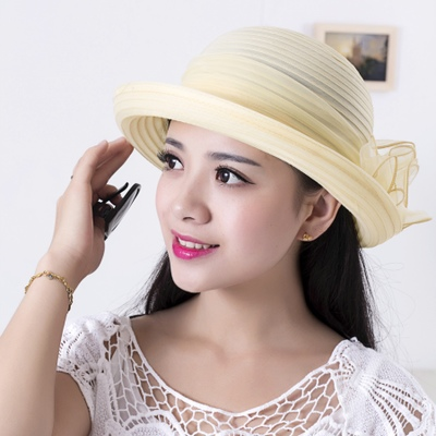 绝美名媛风花朵印度纱帽子女夏季高贵晚宴礼帽优雅淑女沙滩遮阳帽