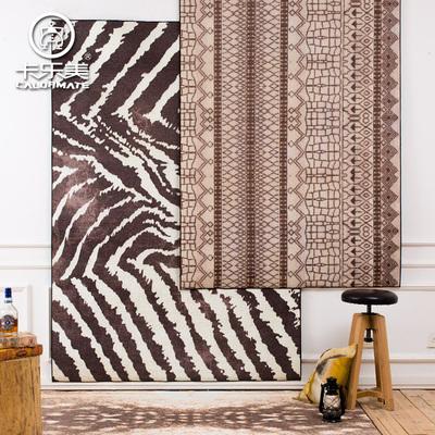 复古斑马纹客厅地毯茶几毯 创意沙发垫子卧室床边毯满铺无毛地垫在哪买