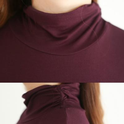 高领莫代尔打底衫秋衣薄款长袖t恤女秋冬纯色修身显瘦堆堆领上衣