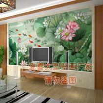 国画荷花壁画九鱼图绿色高清墙纸壁纸电视背景墙大型壁画