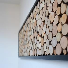原木北欧客厅装饰画 沙发背景墙画餐厅壁挂画创意个性立体画美式