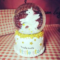 Girls Heart Children's Day Birthday Gifts Music Box Valentine's Day Glowing Snowflake Crystal Ball Music Box Unicorn