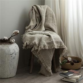 比利时进口 纯亚麻盖毯夏凉毯单人休闲毯沙发床尾毯子膝盖空调毯