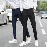 休闲裤男2018春夏季修身小脚裤男士裤子韩版潮流黑色长裤男生西裤