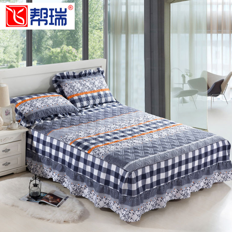 全棉夹棉床罩单件纯棉1.5床裙床套单双人加厚1.8x2.0米床1.2床盖