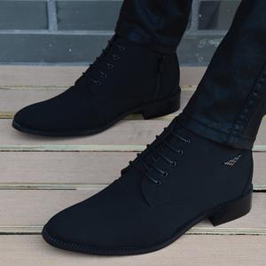 新款春秋男士布面韩版英伦短靴男皮鞋尖头高帮鞋休闲马丁靴男鞋子