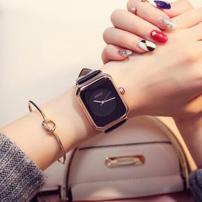香港古欧GUOU潮流时尚方形女士皮带手表女学生韩版简约防水石英表
