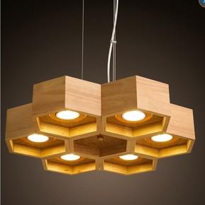 设计师艺术创意北欧实木现代简约日式餐厅客厅书房卧室蜂巢吊灯