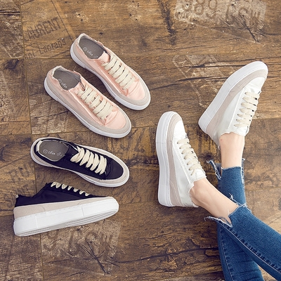 运动休闲鞋女2018春季新款西班牙小众鞋内增高小白鞋松糕厚底单鞋