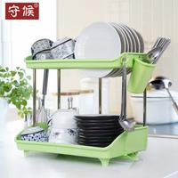 守候双层碗架厨房置物架塑料沥水架碗盘柜碗碟碗筷餐具收纳架子2