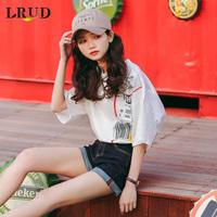 LRUD2017夏装新款女装韩版白色百搭打底衫短袖女宽松显瘦T恤上衣