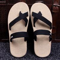 亚麻拖鞋男夏季防滑舒适夹脚室外穿凉拖休闲沙滩鞋韩版人字拖男鞋