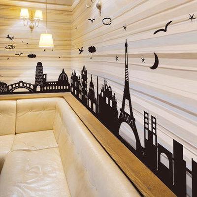 卧室玄关墙贴纸贴画欧式古建筑铁塔踢脚线防水自粘壁纸客厅腰线贴