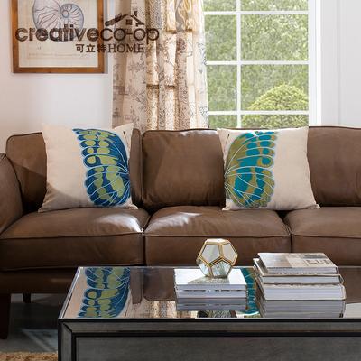 可立特棉麻蝴蝶刺绣抱枕沙发靠枕创意靠垫美式家居装饰枕头含枕芯